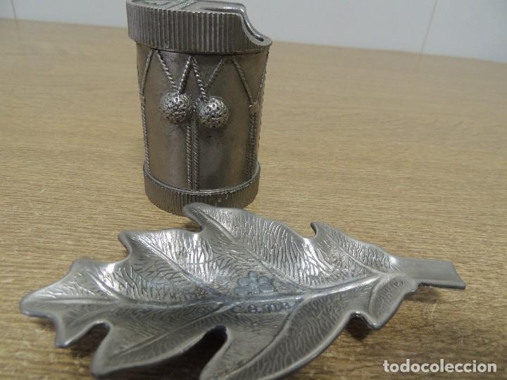 Ceniceros: encendedor y cenicero (tamboril y hoja de roble arbol de Guernica) - Foto 2 - 69921073