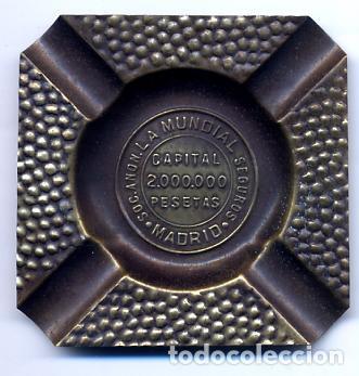 MUY ANTIGUO CENICERO SEGUROS LA MUNDIAL - MADRID - CAPITAL 2.000.000 PESETAS (Coleccionismo - Objetos para Fumar - Ceniceros)