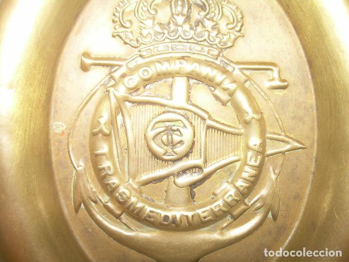 Ceniceros: ANTIGUO Y RARO CENICERO DE LATON...COMPAÑIA TRASMEDITERRANEA....AÑOS 20. - Foto 3 - 95375659