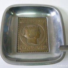 Ceniceros: CENICERO GRAN TAMAÑO CON REPRODUCCIÓN SELLO CORREOS 1853. Lote 96900211