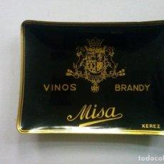 Ceniceros: CENICERO DE METAL ANTIGUO. MISA. VINO BRANDY XEREZ. REGALO PUBLICITARIO AÑOS 70. VINTAGE. VINOS.. Lote 103704359