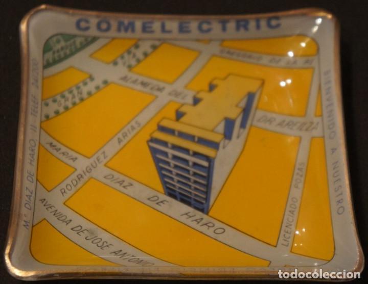 Ceniceros: Cenicero - tarjetero publicitario antiguo, de cristal, del edificio Comelectric en Bilbao - Foto 2 - 106851971