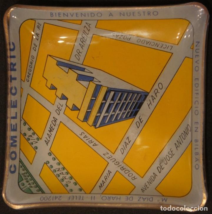 Ceniceros: Cenicero - tarjetero publicitario antiguo, de cristal, del edificio Comelectric en Bilbao - Foto 4 - 106851971