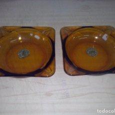 Ceniceros: 2 CENICEROS DURALEX AMBAR ORIGINAL AÑOS 60. Lote 114378771