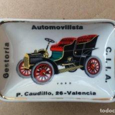 Ceniceros: BONITO CENICERO, BANDEJITA DE CERÁMICA. FORD T. GESTORÍA AUTOMOVILISTA C.I.I.A., VALENCIA, AÑOS 50.. Lote 114779531