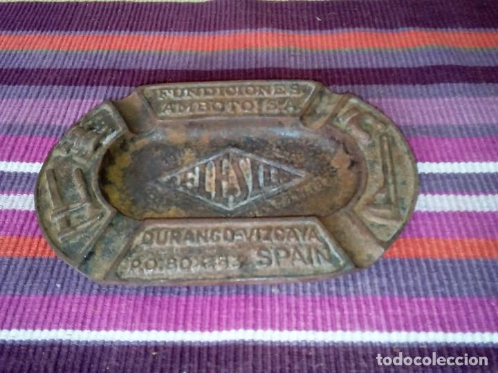 Ceniceros: CENICERO FUNDICIONES AMBOTO S.A. DURANGO 18X12 cms 580 GRS. Metal - Foto 3 - 114863467