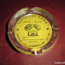 Ceniceros: MAGNIFICO CENICERO ANTIGUO,CONSERVAS PEÑA.PESCADOS Y MARISCOS,EN CRISTAL. Lote 114990075