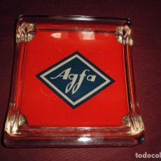 Ceniceros: MAGNIFICO CENICERO ANTIGUO,AGFA,EN CRISTAL. Lote 114991915