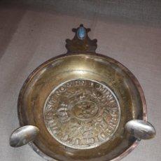 Ceniceros: GRAN CENICERO DE BRONCE PLATEADO CON RELIEVES. Lote 116552419