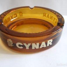 Ceniceros: CENICERO PUBLICIDAD CYNAR - 15 CM DIAMETRO - CRISTAL AMBAR LETRAS BLANCAS. Lote 119259367