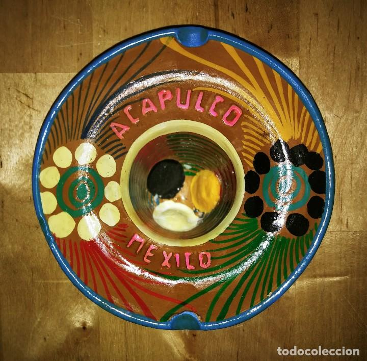 Ceniceros: Cenicero de barro pintado a mano con esmalte forma de sombrero mejicano Acapulco Mexico Mejico 90 - Foto 3 - 119462339