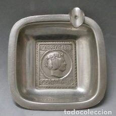 Ceniceros: CENICERO SELLO DE CORREOS 1853 CERT. 6 R. EN METAL - CENICERO-53. Lote 122380527