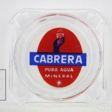 Ceniceros: CENICERO DE CERÁMICA PUBLICITARIO - CABRERA PURA AGUA MINERAL - MEDIDAS 9 X 9 CM . Lote 125395927