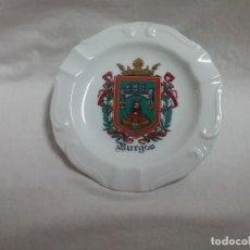 Ceniceros: PLATO CENICERO DE PORCELANA CON EL ESCUDO DE BURGOS DE ARTESANÍA MONÁSTICA LAS HUELGAS DE BURGOS . Lote 127542911