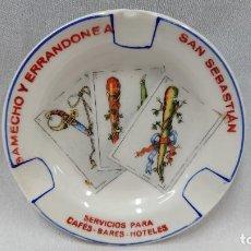 Ceniceros: CURIOSO CENICERO PORCELANA JAGER - SAMECHO Y ERRANDONEA SAN SEBASTIÁN . Lote 130402594