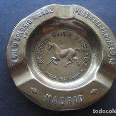 Ceniceros: ANTIGUO CENICERO METAL. ALMIDON FLOR TAMIZADO. EMILIO BOLONIO MUÑOZ. PLAZA DEL PROGRESO 13 MADRID. Lote 130449210