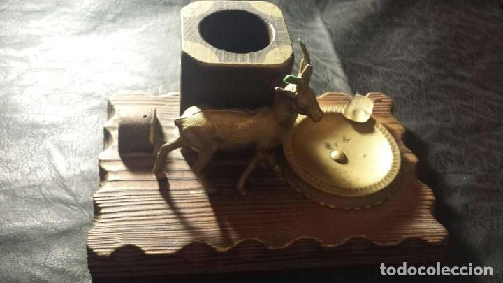 Ceniceros: Cenicero antiguo con madera y metal para puros - Foto 2 - 134557478