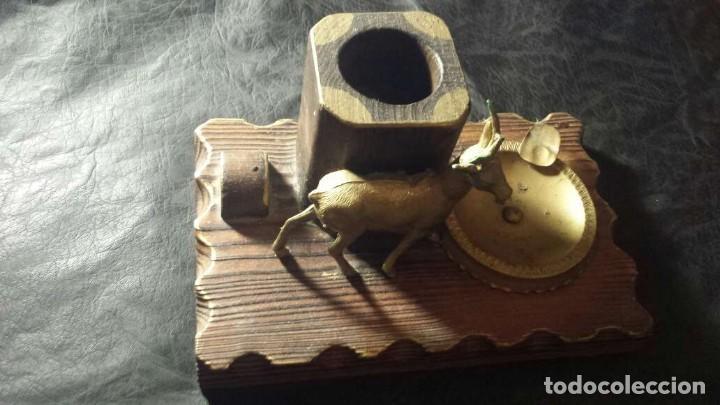 Ceniceros: Cenicero antiguo con madera y metal para puros - Foto 3 - 134557478