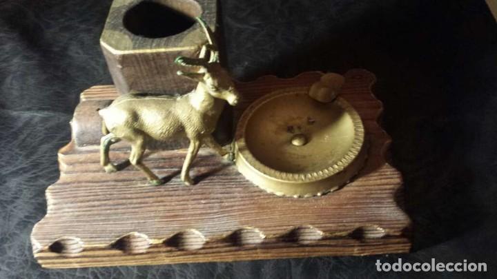 Ceniceros: Cenicero antiguo con madera y metal para puros - Foto 4 - 134557478