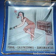 Ceniceros: CENICERO CRISTAL AÑOS 50 PUBLICIDAD DE LA EMPRESA FERVAL DE CALEFACCIONES,SANEAMIENTOS Y CALDERERIA. Lote 147403050