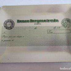 Ceniceros: CENICERO DE ALUMINIO - BANCO BORGES & IRMAO - PORTO - PORTUGAL - 13X10 CM - IMITA CHEQUE. Lote 147771614