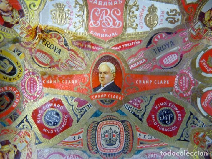 Ceniceros: ANTIGUO CENICERO DE CRISTAL DECORADO CON VITOLAS DE PURO. 11,5x9 cm. AÑOS 50-60. VINTAGE - Foto 2 - 161321518