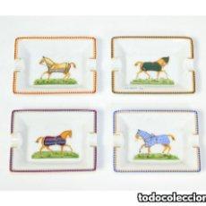 Ceniceros: HERMES PORCELAIN SET OF 4 MINI ASHTRAY HORSES / SET DE 4 CENICEROS HERMES EN PORCELANA. Lote 167452012