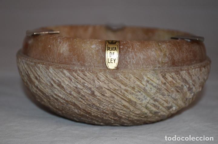 Ceniceros: Precioso cenicero en mármol veteado y plata de ley. romanjuguetesymas. - Foto 5 - 167861796