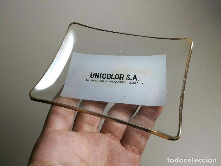 Ceniceros: Cenicero Publicitario de vidrio cristal-UNICOLOR S.A COLORANTES Y QUIMICOS-BAYER Años 40-50 - Foto 3 - 171699309