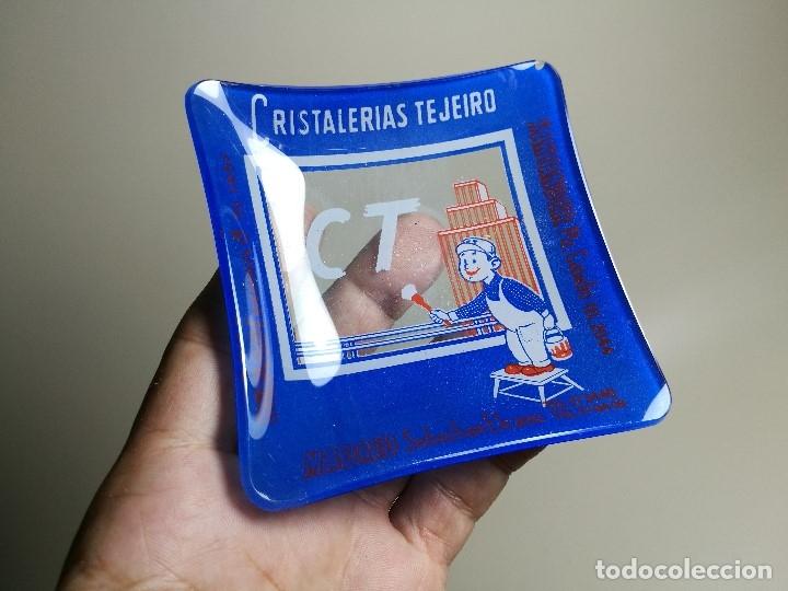 Ceniceros: Cenicero Publicitario de vidrio cristal- CRISTALERIAS TEJEIRO BILBAO SANTANDER MADRID Años -50 - Foto 2 - 171700144