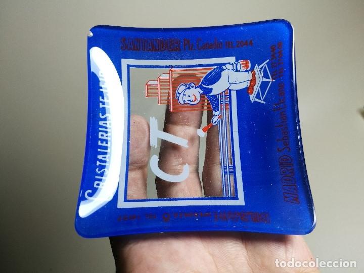 Ceniceros: Cenicero Publicitario de vidrio cristal- CRISTALERIAS TEJEIRO BILBAO SANTANDER MADRID Años -50 - Foto 3 - 171700144
