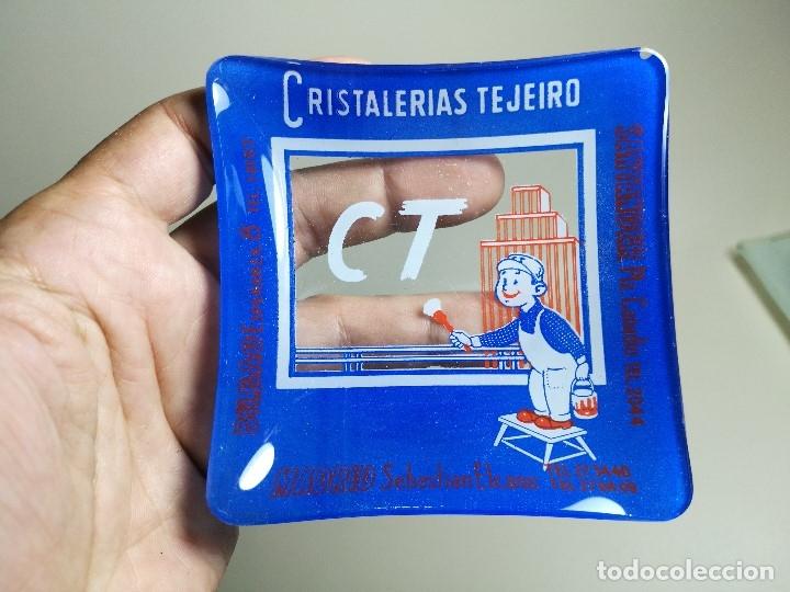 Ceniceros: Cenicero Publicitario de vidrio cristal- CRISTALERIAS TEJEIRO BILBAO SANTANDER MADRID Años -50 - Foto 6 - 171700144