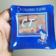 Ceniceros: CENICERO PUBLICITARIO DE VIDRIO CRISTAL- CRISTALERIAS TEJEIRO BILBAO SANTANDER MADRID AÑOS -50. Lote 171700144