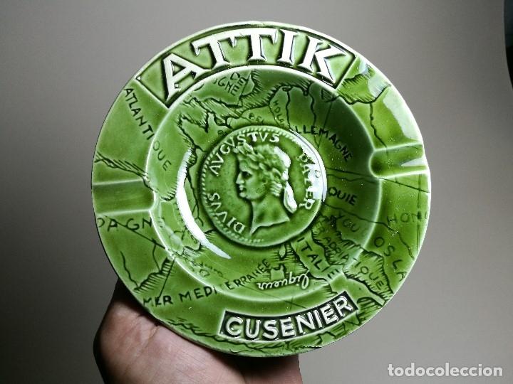 Ceniceros: Cenicero Publicitario de PORCELANA CERAMICA bebida---ATTIK CUSENIER AÑOS 50-60. - Foto 2 - 171708100
