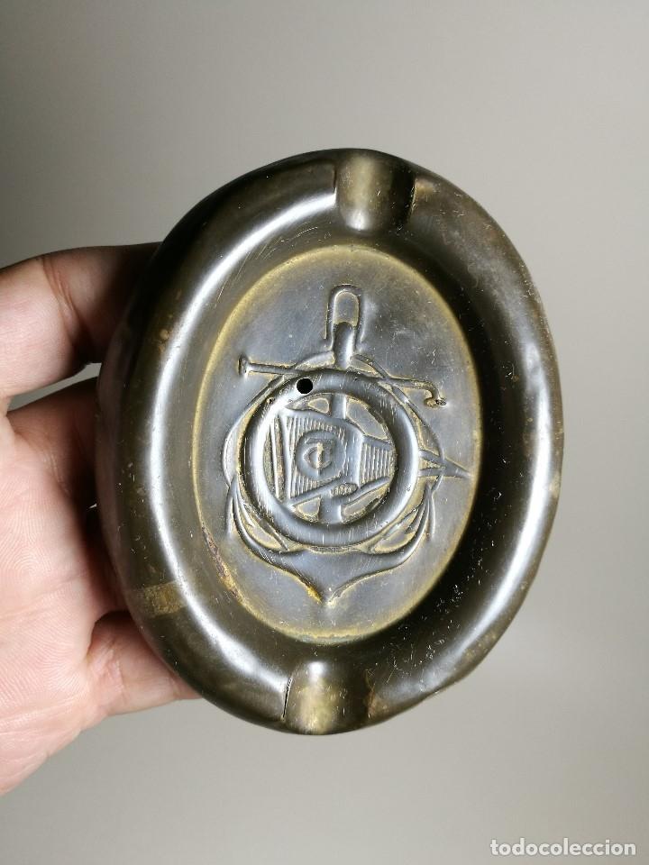 Ceniceros: Cenicero Publicitario de chapa bronce y hierro---CLUB NAUTICO TARRAGONA 1900 - Foto 2 - 171708424