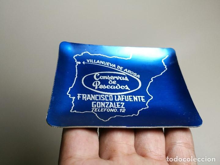 Ceniceros: Cenicero Aluminio serigrafiado Publicitario CONSERVAS PESCADO FCO LAFUENTE GONZALEZ VILLANUEVA AROSA - Foto 2 - 175046080