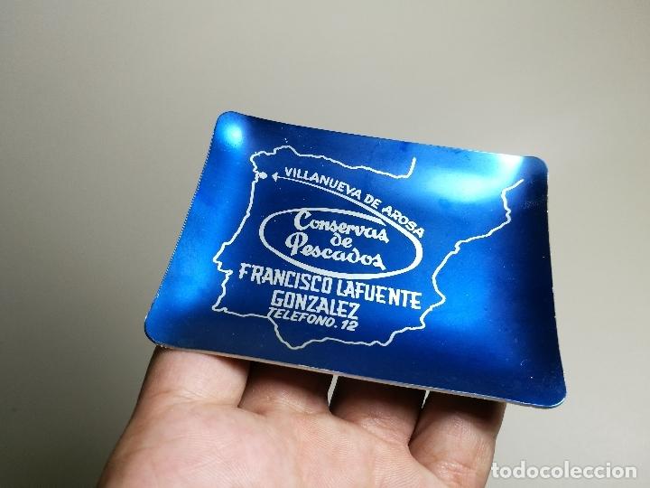 CENICERO ALUMINIO SERIGRAFIADO PUBLICITARIO CONSERVAS PESCADO FCO LAFUENTE GONZALEZ VILLANUEVA AROSA (Coleccionismo - Objetos para Fumar - Ceniceros)