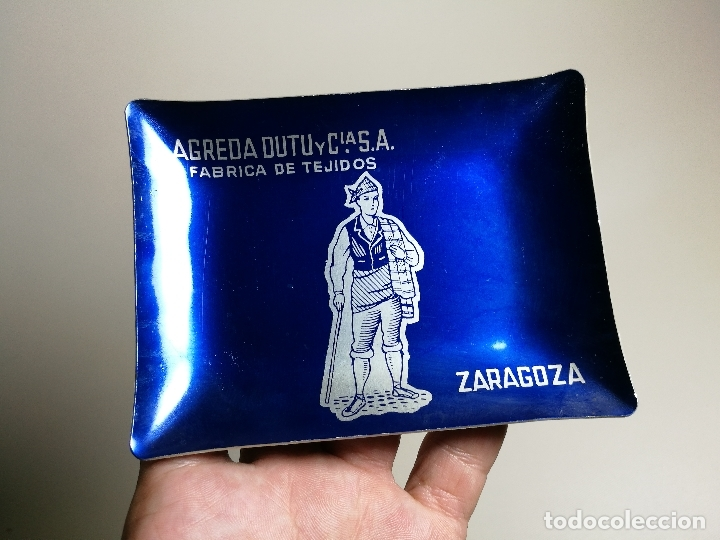 CENICERO ALUMINIO SERIGRAFIADO PUBLICITARIO FABRICA DE TEJIDOS AGREDA DUTU -ZARAGOZA (Coleccionismo - Objetos para Fumar - Ceniceros)