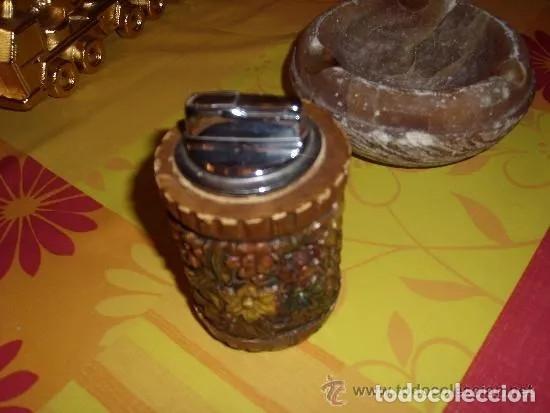 Ceniceros: CENICERO DE ALABASTRO Y ENCEDEDOR DE MADERA ANTIGUOS, FINALES 60 - PRINCIPIOS 70. TABACO - Foto 5 - 179106237