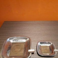 Ceniceros: ANTIGUA PAREJA DE CENICEROS CERROS 1853 CERTIFICADO 6RS. Lote 180117420
