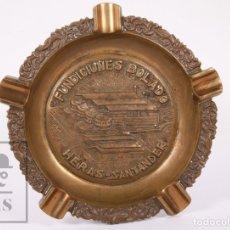 Ceniceros: CENICERO DE BRONCE - FUNDICIONES BOLADO. HERAS, SANTANDER - DIÁMETRO 20 CM. Lote 181558810