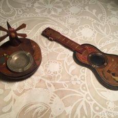 Ceniceros: ANTIGUO CENICERO Y GUITARRA DE MADERA DE OLIVA RECUERDO DE MALLORCA DE LOS AÑOS 40-50. Lote 191118885