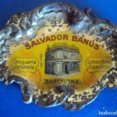 Ceniceros: (PUB-200136)CENICERO DE LATA PUBLICITARIO DROGUERIA PERFUMERIA SALVADOR BANUS BARCELONA. Lote 191183892