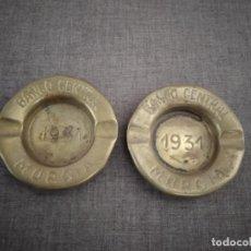 Cendriers: 1931, LOTE DE 2 ANTIGUOS CENICEROS DE BRONCE, DEL BANCO CENTRAL DE MURCIA, UNOS 8 CMS. DIÁMETRO. Lote 197660023