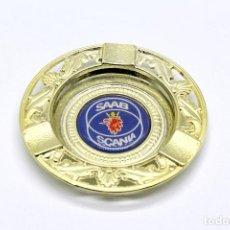 Ceniceros: PEQUEÑO CENICERO DE METAL CON LOGO DE SAAB SCANIA. NUEVO, A ESTRENAR. MIDE 8,4 CM DE DIÁMETRO.. Lote 199662345