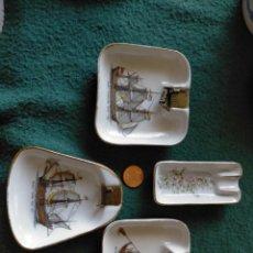 Ceniceros: LOTE 4 ANTIGUOS CENICEROS CERAMICA FINA. PUBLICIDAD CARBONES ELECTRICOS GELTER. Lote 215088176