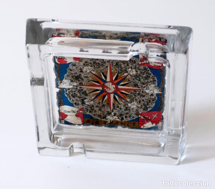 Ceniceros: Cenicero vintage de vidrio, publicidad Air France. Original, año 1953, by Gerrer. Grande, mide 17,5 - Foto 4 - 218393932