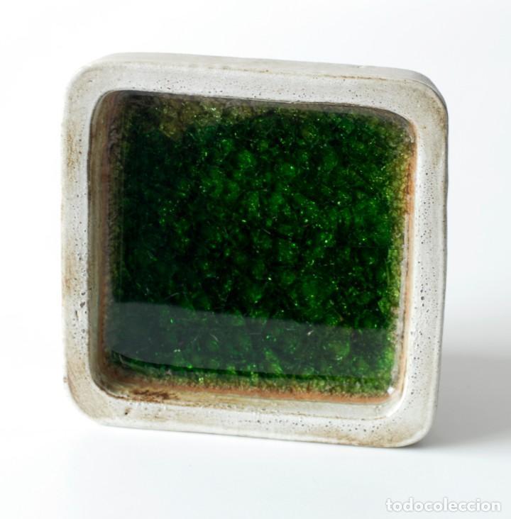 Ceniceros: Cenicero vintage de cerámica y vidrio. Grande y pesado, mide 19 x 19 x 4 cm, pesa 1,5 kg. - Foto 4 - 218395068