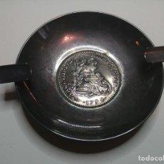 Ceniceros: CENICERO CON REPRODUCCIÓN GRANDE DE MONEDA, CARLOS III, 1794. ¿PLATA?. Lote 222193163