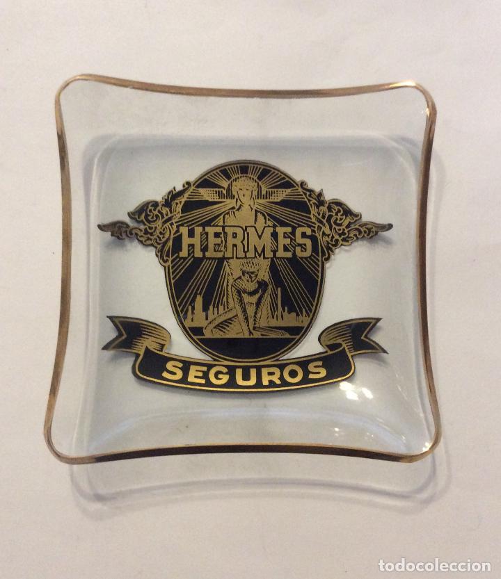-CENICERO CON PUBLICIDAD HERMES SEGUROS (Coleccionismo - Objetos para Fumar - Ceniceros)
